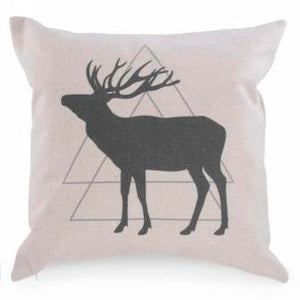 Beige Cushion w/Grey Deer Motif