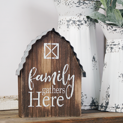 Barn- Family Gathers Here sign