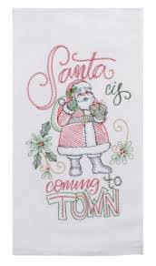 Santa Town Embroidered Flour Sack Tea Towel