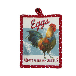 Farm Nostalgia Red w Rooster Pot Holder