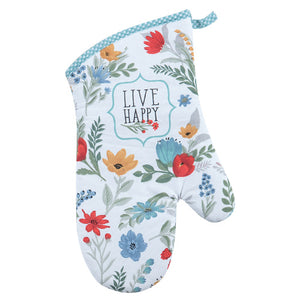 "Blooming Thoughts  ""Live Happy' Oven Mitt"