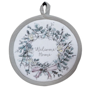 "Modern Farmhouse ""Welcome Home"" Pot Holder (round)"