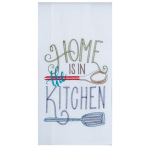 "Meadow Embroidered ""Home is in the kitchen"" Flour Sack"