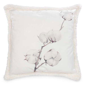 White Floral Branch Cushion with Faux Fur Reverse Side
