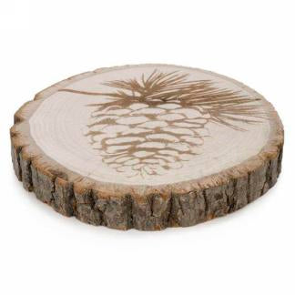 Decorative Wood Slice with Pinecone Motif