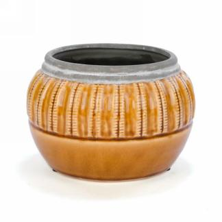 Planter- Yellow Ceramic Pot with Grey Trim