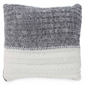 Grey and White Knit Cushion