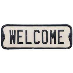 Welcome embossed sign