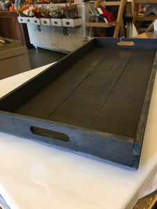Long Wood Tray with Cutout Handles