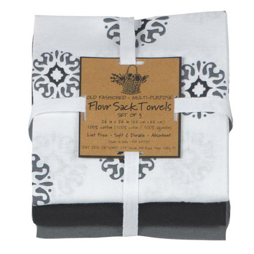 Charcoal Medallion 3 pc set Flour Sack