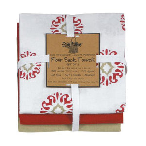 Cinnabar Medallion 3 pc set Flour Sack