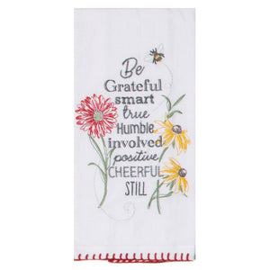 Floral Buzz Embroidered Flour Sack
