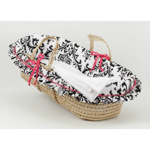 Girly Floral Damask Moses Basket