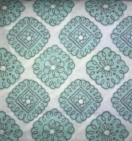 Aqua Blue/Turquoise Medallion Cotton Fabric - 3yds