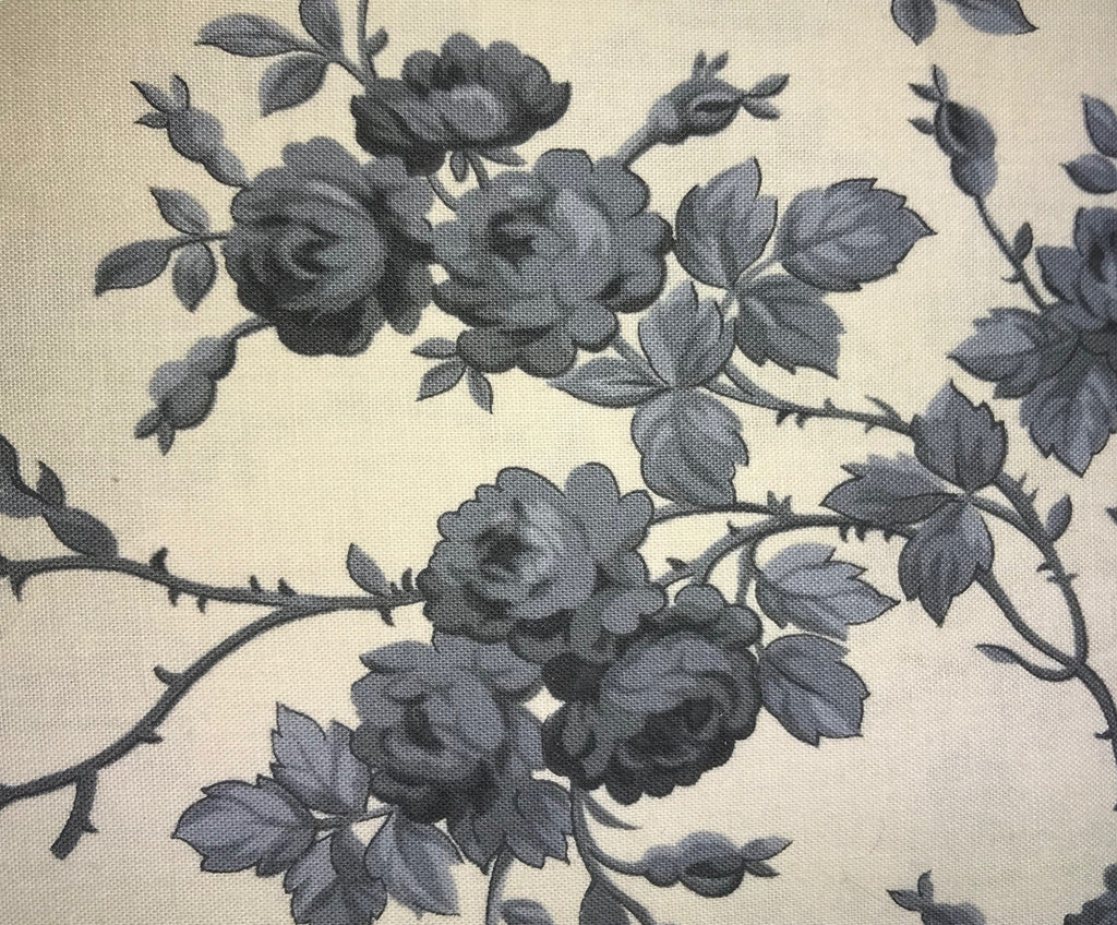 Cream & Gray Floral Fabric - 3yds