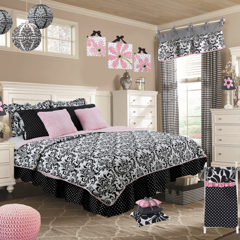 Girly Damask 8 Pc Reversible Full Bedding Set