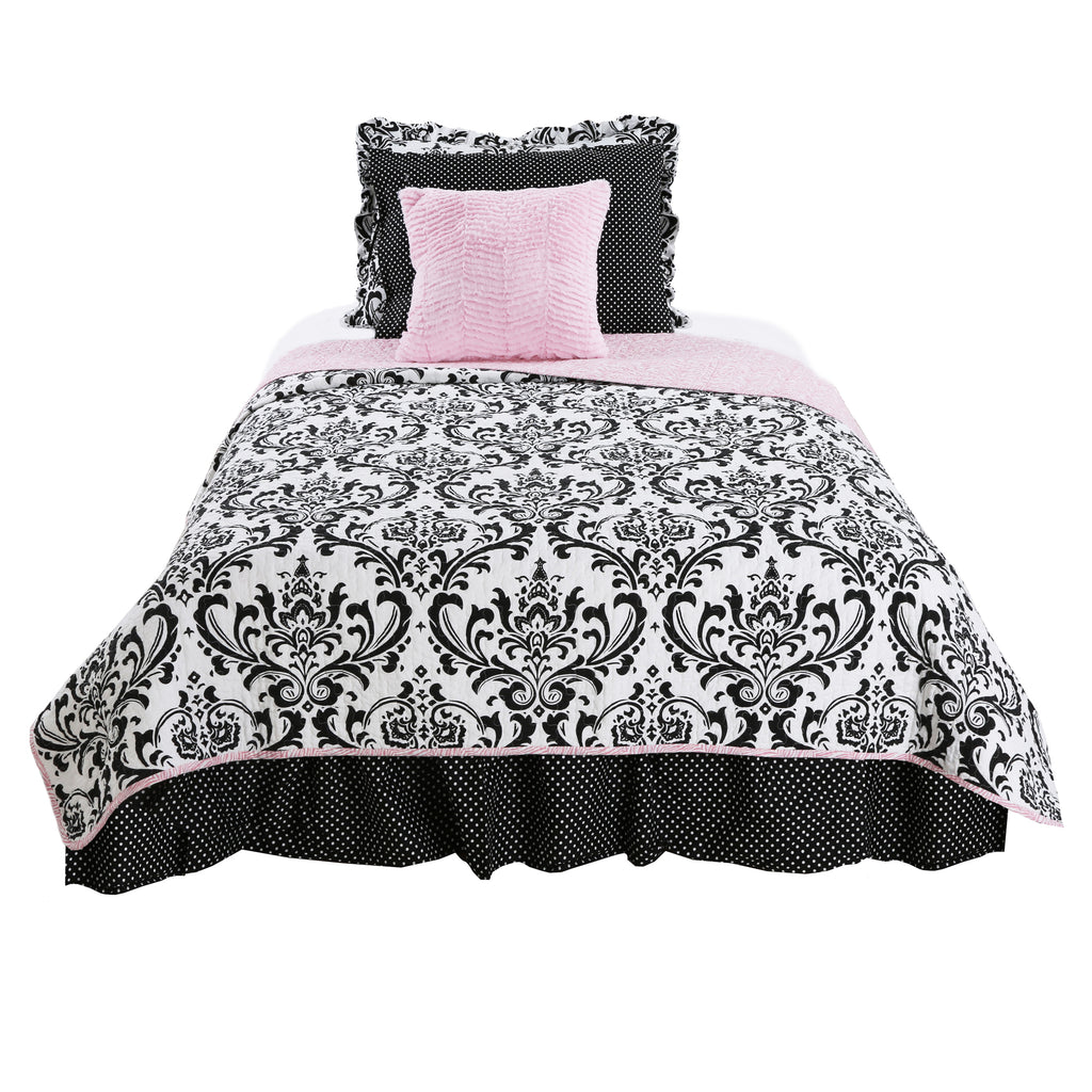 Girly Damask 5 Pc Reversible Twin Bedding Set – Cotton Tale