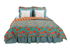 Gypsy Floral 5 Piece Reversible Twin Quilt Bedding Set