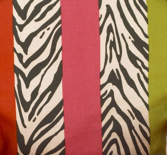 Here Kitty Kitty Bold Bright Colored Stripes with  Zebra and Fabric - 3yds