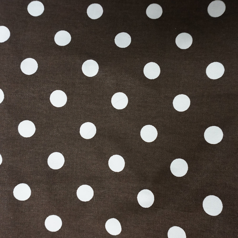 Dark Brown with White Polka Dot Fabric - 3 yds