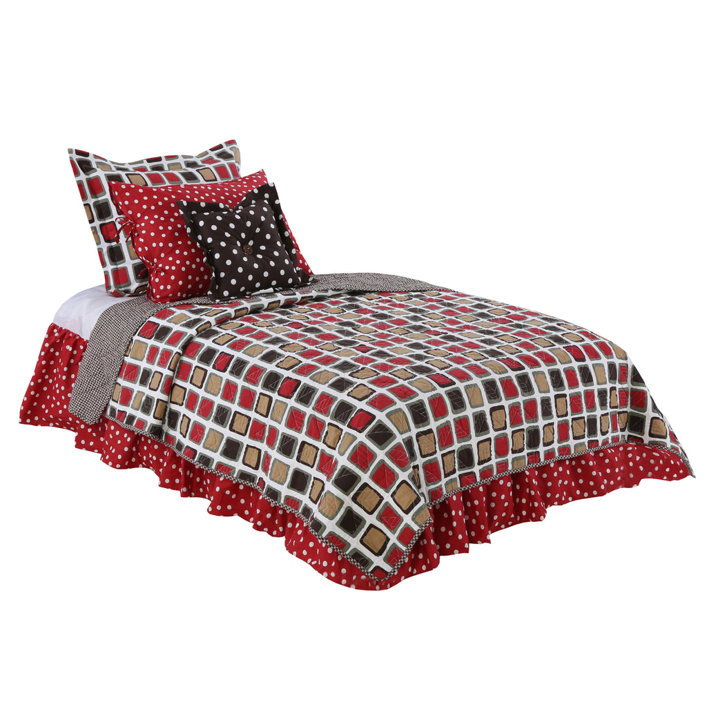 Multicolored Geometric & Dot Houndstooth 5 Pc Reversible Twin  Bedding Set