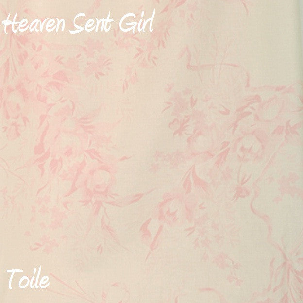 Heaven Sent Girl Pink Toile Print Fabric - 3yds.