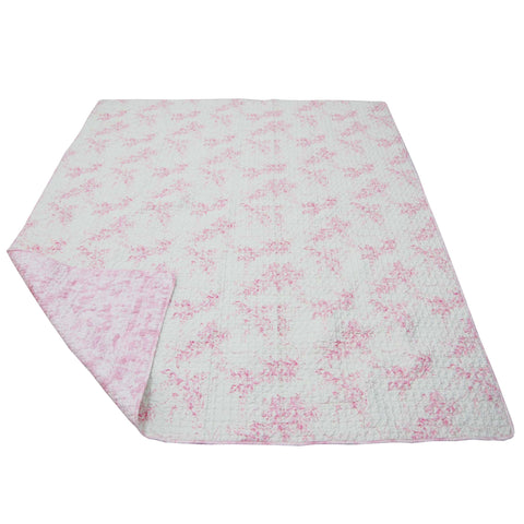 Heaven Sent Girl Pink Floral Twin Reversible Quilt