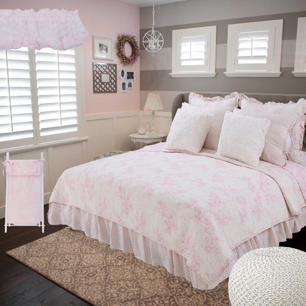 Heaven Sent Girl 5 Pc Pink Floral Twin Bed Set (Dust Ruffle, Quilt, 2 Pillow Case, 1 Pillow Sham, 1 Throw Pillow)