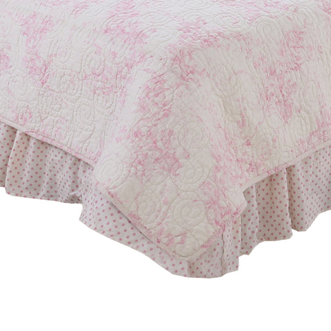 Heaven Sent Girl Pink Polka Dot Queen Bed Skirt