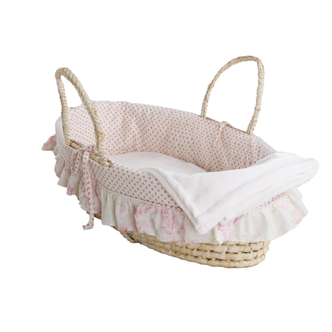 Heaven Sent Girl Pink Polka Dot & Floral Moses Basket