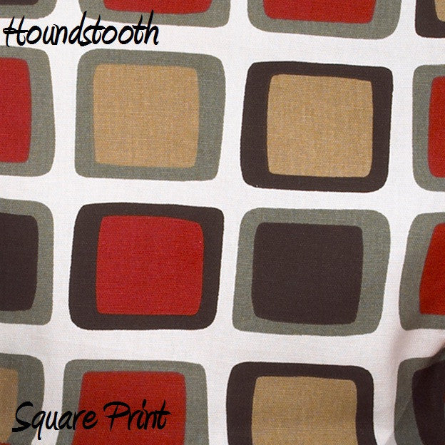 Houndstooth White Background w/ Square Print Fabric - 3yds.