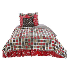 Multicolored Geometric Houndstooth Twin Reversible Quilt