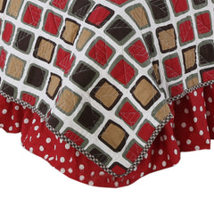 Red & White Dot Houndstooth Queen Bed Skirt