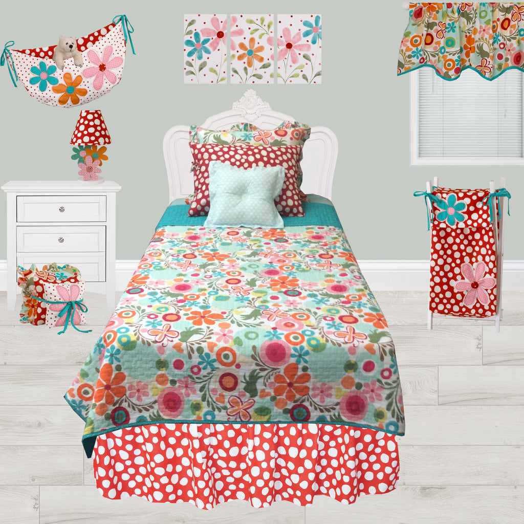 Floral Pillow Juvenile Bedding Pillow Shams Floral Cotton Tale Designs