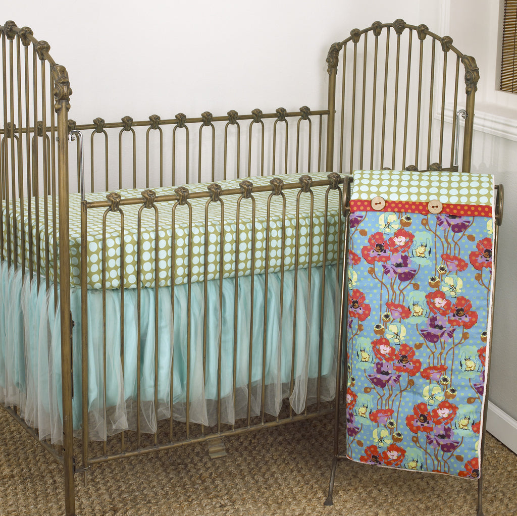 Turquoise Crib Set Floral Crib Bedding Baby Nursery Cotton Tale Cotton Tale Designs