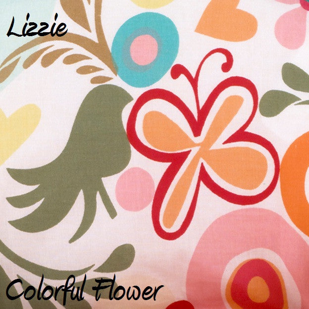 Lizzie Colorful Flower Fabric - 3yds.