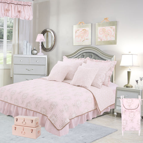 Lollipops & Roses 8 Pc Floral Queen Bed Set (Dust Ruffle, Quilt, 2 Pillow Case, 2 Pillow Sham, 2 Throw Pillow)