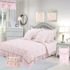Lollipops & Roses 8 Pc Floral Full Bed Set (Dust Ruffle, Quilt, 2 Pillow Case, 2 Pillow Sham, 2 Throw Pillow)