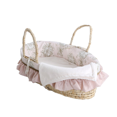 Lollipops & Roses  Pink & Tan Angel Toile Moses Basket