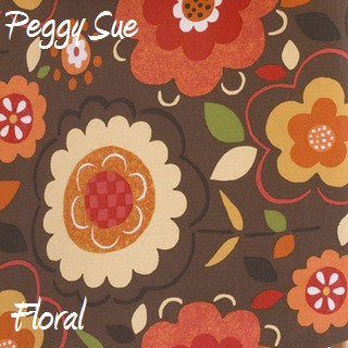 Peggy Sue Brown Background w/ Flower Print Fabric - 3yds.