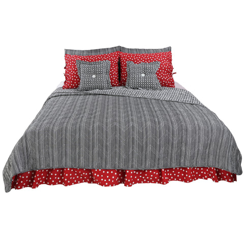 Pirates Cove Dots & Stripes 8 Pc Reversible Queen Bedding Set