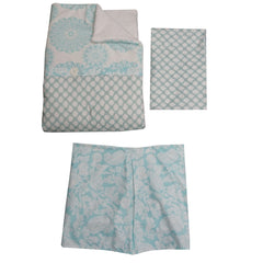 Crib Bedding Set Sweet and Simple Aqua/Blue 3 PC
