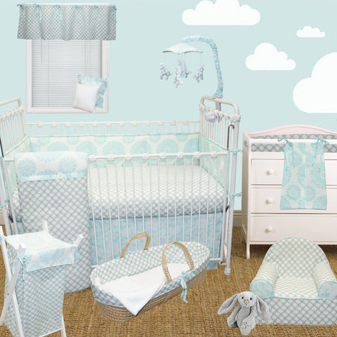 Crib Bedding Set 8 PC Sweet and Simple Aqua/Blue Collection