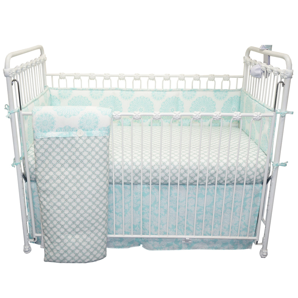 Nursery Crib Set Sweet and Simple Aqua/Blue 4 PC Collection