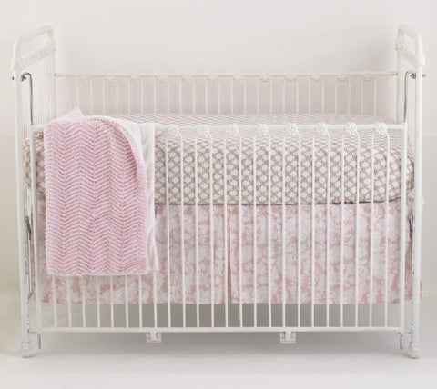 Pink Crib Bedding Set 3 PC Sweet and Simple