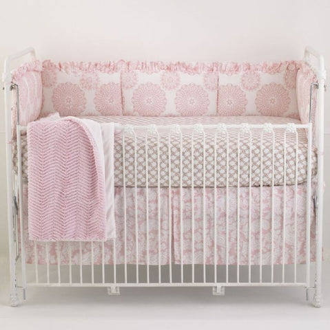 Pink Crib Bedding Set Sweet and Simple 4 PC Set