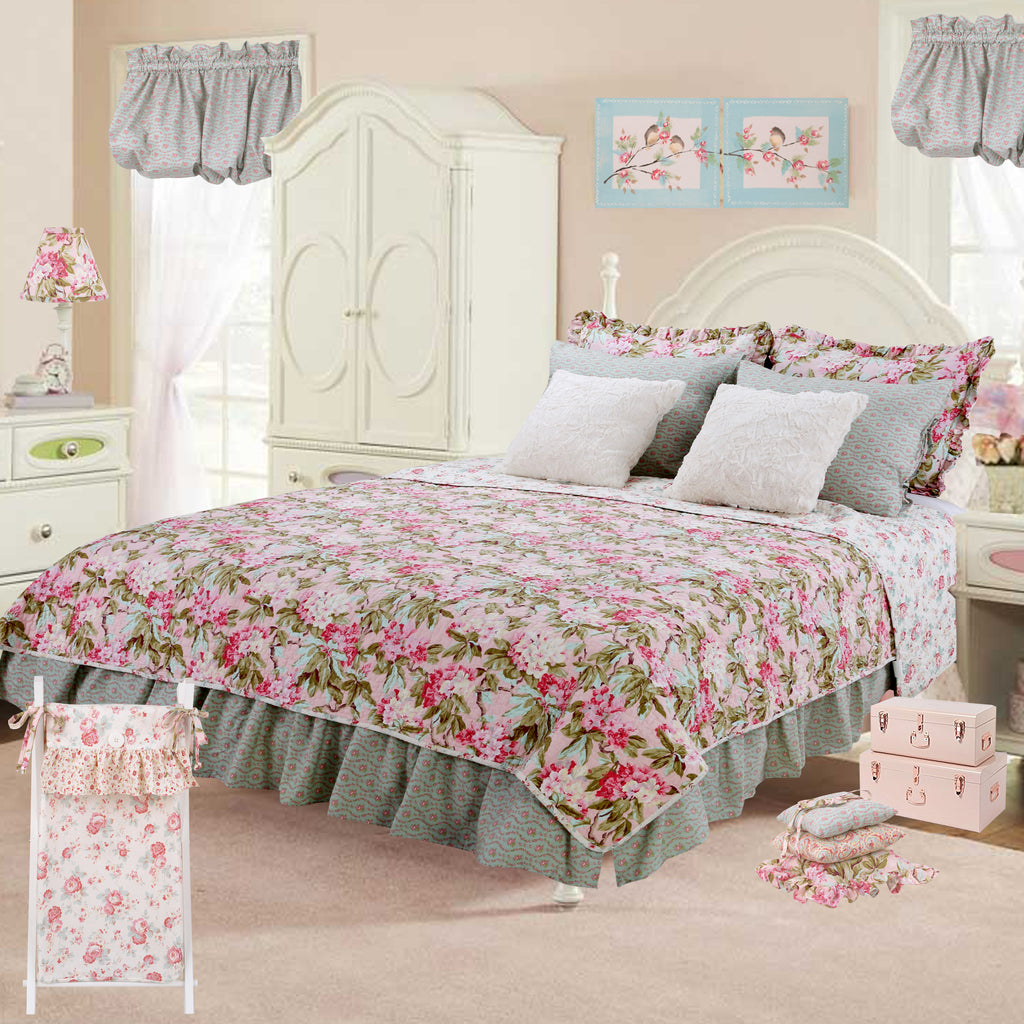 Tea Party  8 Pc Floral Reversible Full Bedding Set