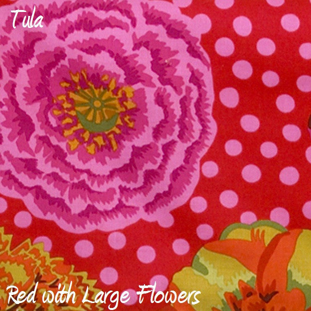 Tula Red Background w/ Pink Dot Flower Print Fabric - 3yds.