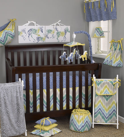 Zebra Romp 7pc Crib Bedding Set