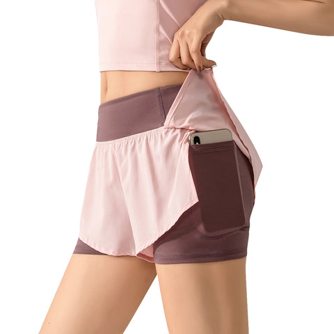 Women 2 In 1 Elastic Waist Running Shorts - JUSTYOSTORE.COM